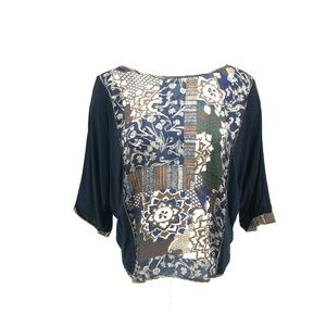 Tiny Anthropologie Floral Print Bat Wing Top Sz XL